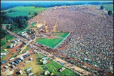 Aerial view of over 400,000 people at the Woodstock Music Festival, New York, 1969