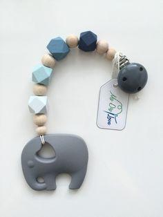 Schnullerketten - Beisskette mit Elefanten in Blautönen - ein Designerstück von MyDIYLove bei DaWanda