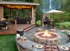 Diy fire pit ideas and backyard seating area (28)