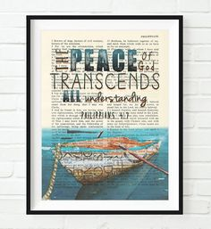 Peace of God- Philippians 4:7 -Vintage Bible Highlighted Verse Scripture Page- Christian Wall ART PRINT