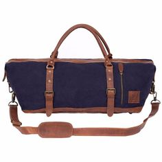 The Armada Duffle in Navy Canvas and Vintage Brown details