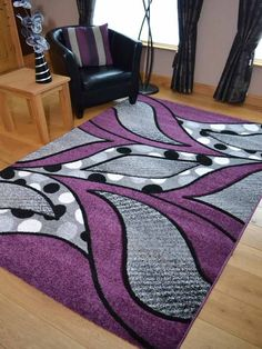 New Small Extra Large Huge Purple & Silver Black Thick Carved Rugs Rug Mat Cheap in Home, Furniture & DIY, Rugs & Carpets, Rugs   eBay