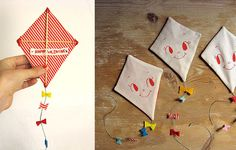 amazing Valentine greeting kites.... from misako mimoko. Could use this idea for invitations or cards for other occasions.