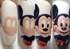 Про Ногти (МК,материалы для ногтей)Nails PRO™ Mickey Mouse Nail Art, Minnie Mouse Nails, Mickey Mouse Nails, Funky Nail Art, Funky Nails, Subtle Nails, Nail Art Hacks, Gel Nail Art, Cartoon Nail Designs