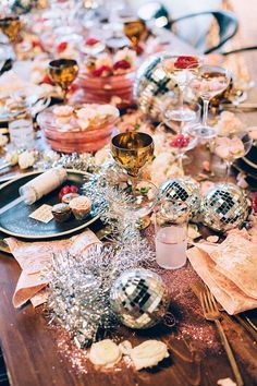 Glitter, disco balls, a Champagne glass tower!