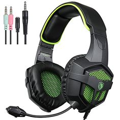 514e5d16630 SADES New Version Xbox One PC Gaming Headset Game Headphones with  Microphone for For New Xbox one Laptop Mac Tablet iPhone iPad  iPod(Black Green)