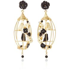 Of Rare Origin Black Lovebird Earrings ($1,850) ❤ liked on Polyvore featuring jewelry and earrings