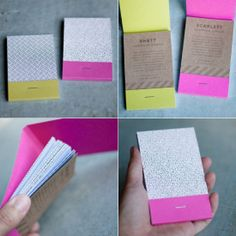 matchbook calendar on the outside... notebook on the inside. Or post it's