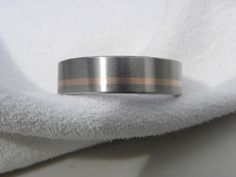 Wedding Band or Ring Titanium with Rose Gold by titaniumknights