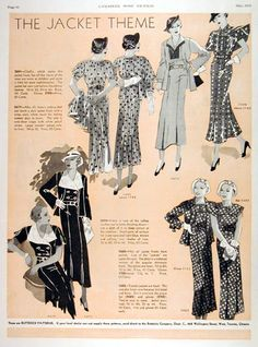 1934 Butterick Fashions Jacket Theme Patterns original vintage advertisement. Features jacket frock with more sophistication, dark jacket frock for crisp cool summer days, taffeta touches and tuxedo jackets.