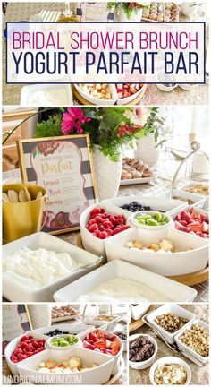 Easy Shower Brunch Idea, Yogurt Parfait Bar, Brunch Food Ideas, Bridal Shower, Brunch Food, Baby Shower Bar, Shower Food Ideas