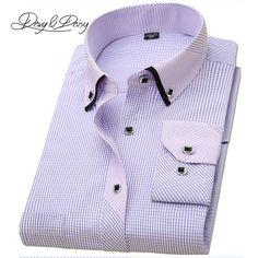 3ae720f2da5 DAVYDAISY High Quality Men Shirt Long Sleeved Classical Solid Plaid Striped Casual  Dress Shirts Men Camisas