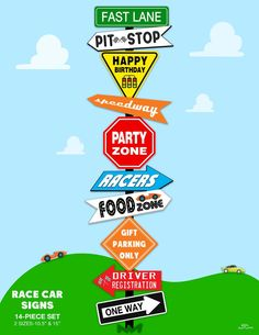 Race Car Signs - Fun printable Directional Signs for your next race car party! Instant Download VROOM VROOM!! Whether youre having a Hot Wheels party, Super Mario party, Disney Cars birthday or Race Car party, these printable race car signs are fast and easy to use! This set includes 14 party signs in 2 sizes. KidsPartyWorks.Com Disney Cars Party, Disney Cars Birthday, Cars Birthday Parties, Race Car Birthday, Race Car Party, Kids Party Decorations, Hall Decorations, Party Ideas, Cars Party Favors