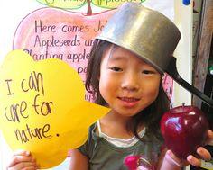Cute Johnny Appleseed writing activity & photo idea