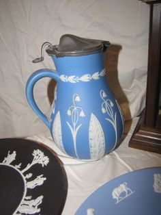 """Wedgwood Jasperware items include 9.25""""diam Zodiac plate, 9""""diam white on black plate, 7""""T pitcher with pewter lid believed to be Wedgwood.."""