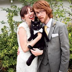 Brides.com: . A simple bow tie is a great way to give your pet a wedding-ready look that they won't detest. This white option is perfect for this couple's black cat, but feel free to customize your pet's look to match the wedding party's attire!