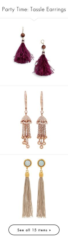 """""""Party Time: Tassle Earrings"""" by polyvore-editorial ❤ liked on Polyvore featuring tassleearrings, jewelry, earrings, purple multi, purple jewelry, kate spade earrings, purple earrings, feather earrings, tassel earrings and rose"""