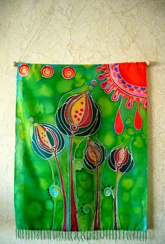Batik art that reminded me of Audrey II Fabric Painting, Fabric Art, Painting Prints, Batik Art, Batik Pattern, Textiles Techniques, Silk Art, Painting Inspiration, Textile Art
