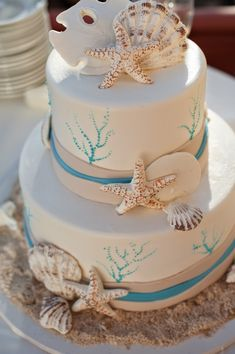 all the seashell accents on this beach wedding cake! Gorgeous Cakes, Pretty Cakes, Cute Cakes, Amazing Cakes, Themed Wedding Cakes, Themed Cakes, Sea Cakes, Pink Cakes, Nautical Cake
