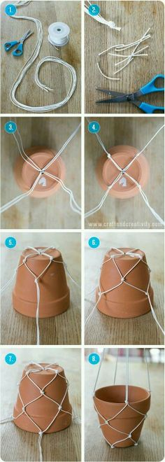String Holder For Flower Pot To Hang