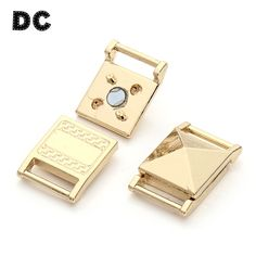DC 5sets/lot 14x21mm Gold Color Strong Square Magnetic Claps Connectors for Flat Leather Bracelets Jewelry Making Supplies #Affiliate