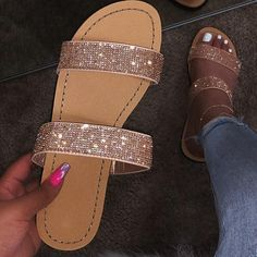 new sandals women bright diamond casual outdoor travel flip flop beach shoes non-slip durable slippers Bling Sandals, Cute Sandals, Sparkly Sandals, Pretty Sandals, Flat Sandals, Glitter Sandals, Bling Shoes, Flat Shoes, Bling Bling