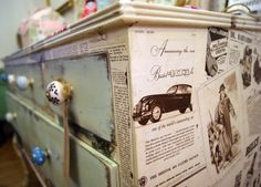 Chest of drawers decoupaged with vintage 'Illustrated London News'!