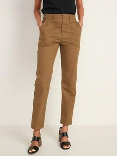 Old Navy High-Rise Slim Wide-Leg Cropped Utility Chinos for Women Shop Old Navy, Girls Shopping, New Outfits, Work Wear, Wide Leg, Pants For Women, My Style, Casual, How To Wear