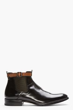 Alexander McQueen Black Leather Ankle Strap Chelsea Boots for men | SSENSE