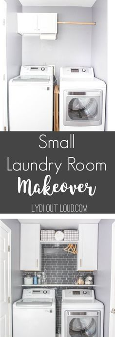 Small laundry room makeover in a day! DIY Laundry Room Makeover | Spon #smallroomdesigndiy