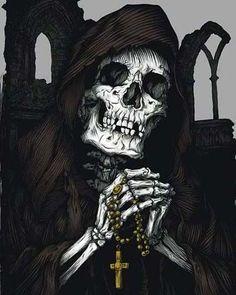 Santa Muerte with rosary Grim Reaper Art, Don't Fear The Reaper, Dark Fantasy Art, Dark Art, Reaper Tattoo, Totenkopf Tattoos, Satanic Art, Arte Obscura, Skull Artwork
