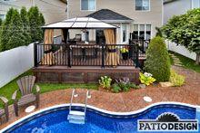 Terrasse en Trex par Patio Design inc. Construction, Outdoor Spaces, Outdoor Decor, Patio Design, Backyard Landscaping, Landscape, Decks, Home Decor, Decorating