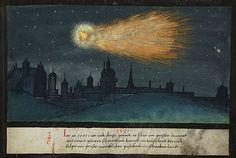 """illustration documentaire allemande : """"Le livre des miracles"""", 1552, étoile filante, nuit, bleu sombre, 16e siècle"""