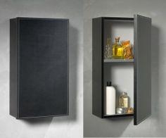 Loft & Bath® Noir > Mobilier façades cuir > Armoire de toilette L.37 H.65 P.20