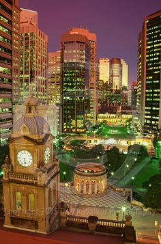 Anzac Square in the heart of Brisbane City in Queensland, Australia, photographed at twilight from the Sofitel Hotel.  For image licensing enquiries, please feel welcome to contact me at derekwalker73@bigpond.com  Cheers :)