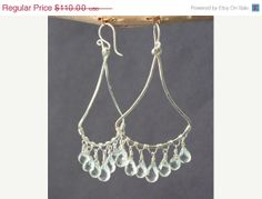 SALE Rio 59 Hammered chandelier earrings with green amethyst