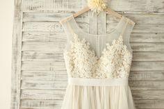 Custom Make Sheer Illusion Tulle Lace Beading Wedding by misdress