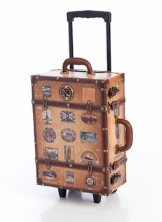 distressed design leatherette suitcase $169.00 in BROWN - New Stuff   GoJane.com - StyleSays