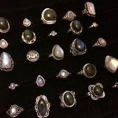 Sterling silver Labradorite and Moonstone ring collection - available at www.themagicones.com