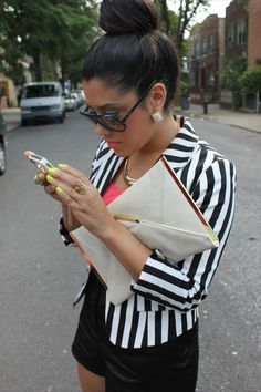 A LOVE AFFAIR WITH FASHION: Striped Blazer & Our Closet Opening