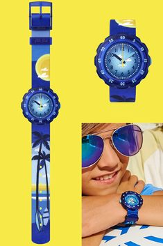 KEEP PALM (ZFPSP043) is a wrist watch for kids with an effortlessly cool design, featuring palm trees and a gentle deep blue colour. The ideal gift for surfer children and little tropical beach bums, it will make telling the time easy. The printed textile strap will not only feed their imagination, it's also machine washable at 40°C. Gifts For Surfers, Telling Time, Beach Bum, Deep Blue, Blue Yellow, Palm Trees, Imagination, Children, Kids
