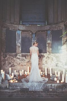 Irma wore a YolanCris gown for her cool, modern wedding at The Asylum in East London. Photography by On Love and Photography.