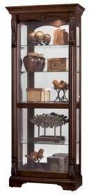Howard Miller cherry modern Curio Display Cabinet 680501 Bernadette-The Hampton Cherry finish on select hardwoods and veneers with light distressing curio cabinet is a beautiful piece of furniture for your collectibles in your dinning room or living room.