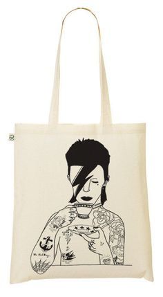illustrated David Bowie & tea cup tote bag