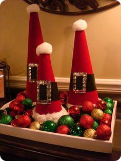Love these DIY Santa Hat decorations! Noel Christmas, All Things Christmas, Winter Christmas, Christmas Ornaments, Ornaments Ideas, Christmas Vacation, Christmas Christmas, Santa Crafts, Christmas Projects