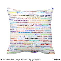 White Horse Text Design II Throw Pillow