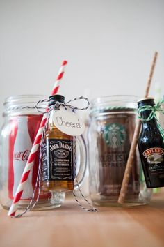 mason jar cocktail gifts (via somethingturquoise)
