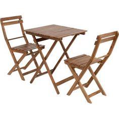 Salon de jardin Acacia bois marron 1 table et 2 chaises