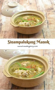 Sinampalukang Manok is a Filipino sour soup made with chicken and flavored with young tamarind leaves. Piping hot and comforting, it's the perfect rainy day food! Milk Recipes, Lunch Recipes, Soup Recipes, Chicken Recipes, Cooking Recipes, Dishes Recipes, Vegetarian Recipes, Filipino Dishes, Filipino Recipes