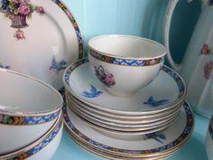Vintage bluebird tea set